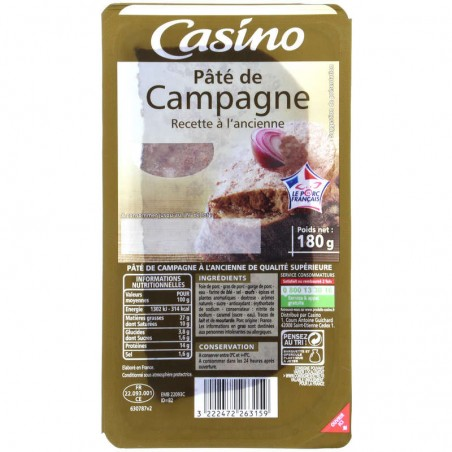 Paté de campagne recette à l'ancienne 180g CASINO