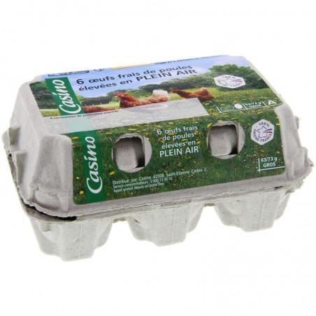 6 oeufs frais de poules élevées en PLEIN AIR x6 CASINO