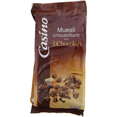 Muesli croustillant 3 chocolats 500g CASINO