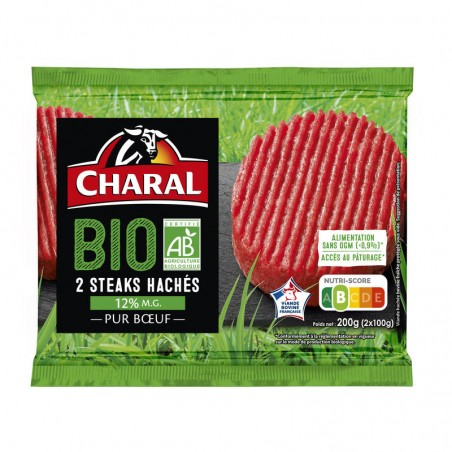 Steak haché Bio 15% Mg 2x100g CHARAL