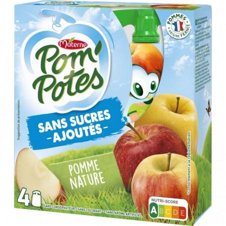 Pom'Potes  - Compote pomme nature sans sucre ajouté 4x90g MATERNE