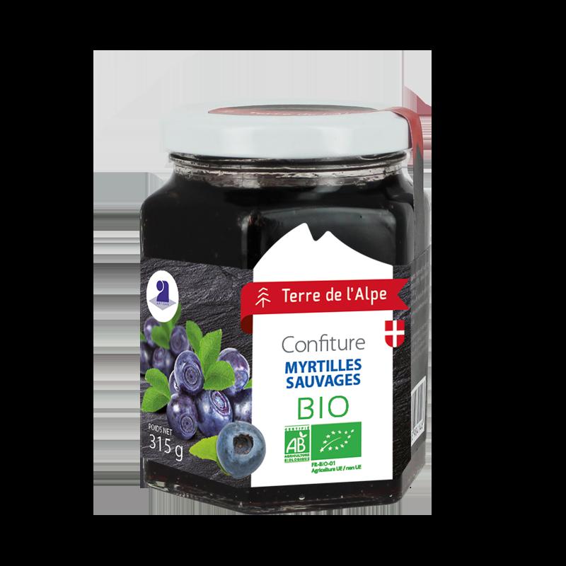 Confiture de Myrtilles sauvages Bio Le pot de 315g TERRE DE L'ALPE