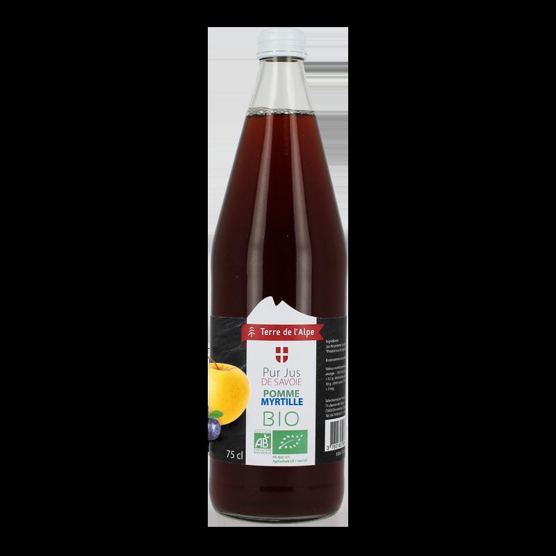 Pur Jus de Pomme et Myrtille Bio La bouteille de 75cl TERRE DE L'ALPE