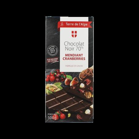 Chocolat Noir 70% Cranberries La tablette de 100g TERRE DE L'ALPE