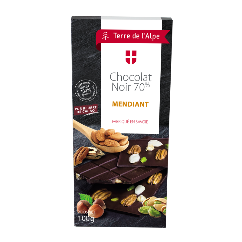 Chocolat Noir 70% Mendiant La tablette de 100g TERRE DE L'ALPE