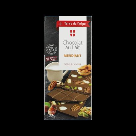 Chocolat au lait Mendiant La tablette de 100g TERRE DE L'ALPE