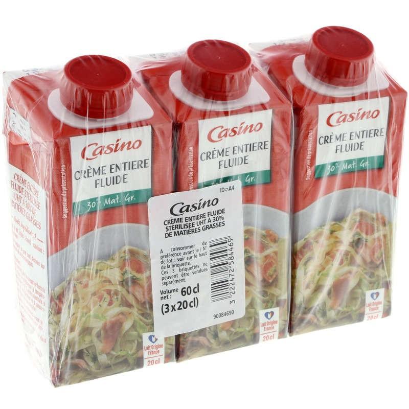 CASINO Crème fluide entière - 30% de matières grasses 3x20cl