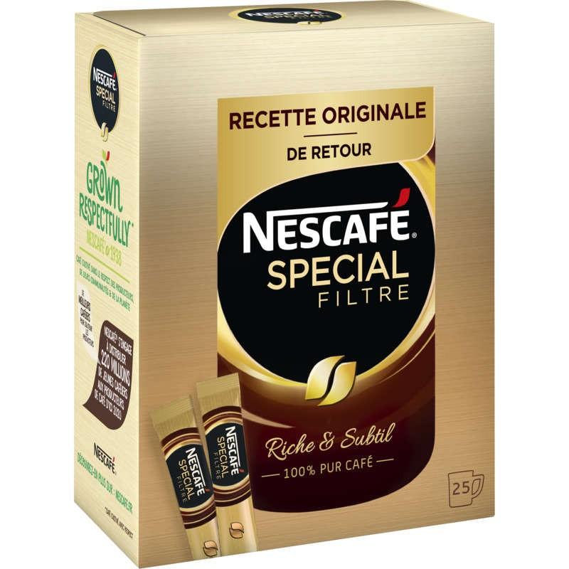 NESTLE Nescafé - Spécial filtre - Café soluble - Sticks - 25 tasses 50g