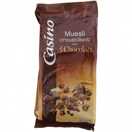 CASINO Muesli croustillant 3 chocolats 500g
