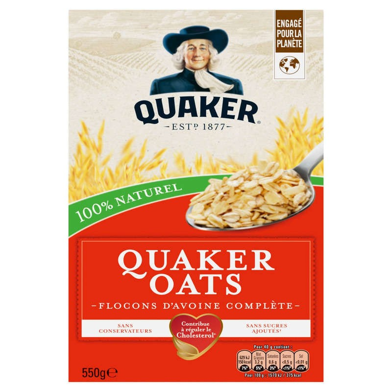 QUAKER Oats - Flocons d'avoine 550g