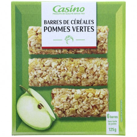 CASINO Barres céréales pommes vertes 125g