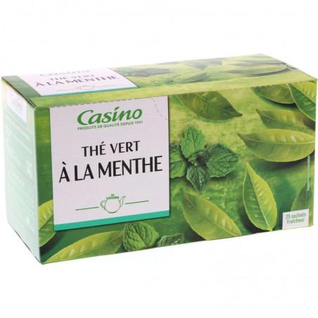 CASINO Thé vert - Aromatisé à la menthe - 25 sachets fraîcheur 40g