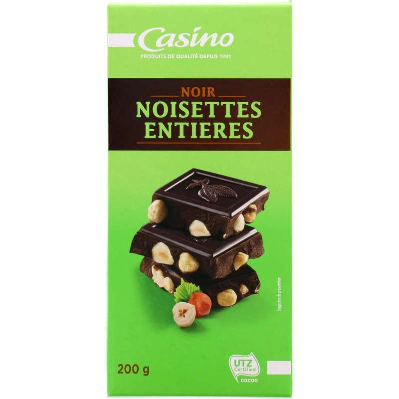 CASINO Chocolat Noir Noisettes entières 200g