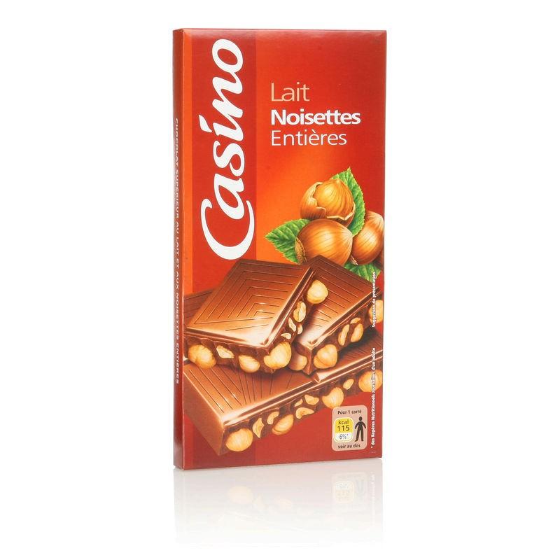 CASINO Lait Noisettes Enitères 200g