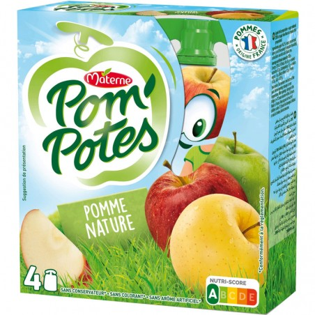 MATERNE Pom'Potes  - Compote pomme nature 4x90g