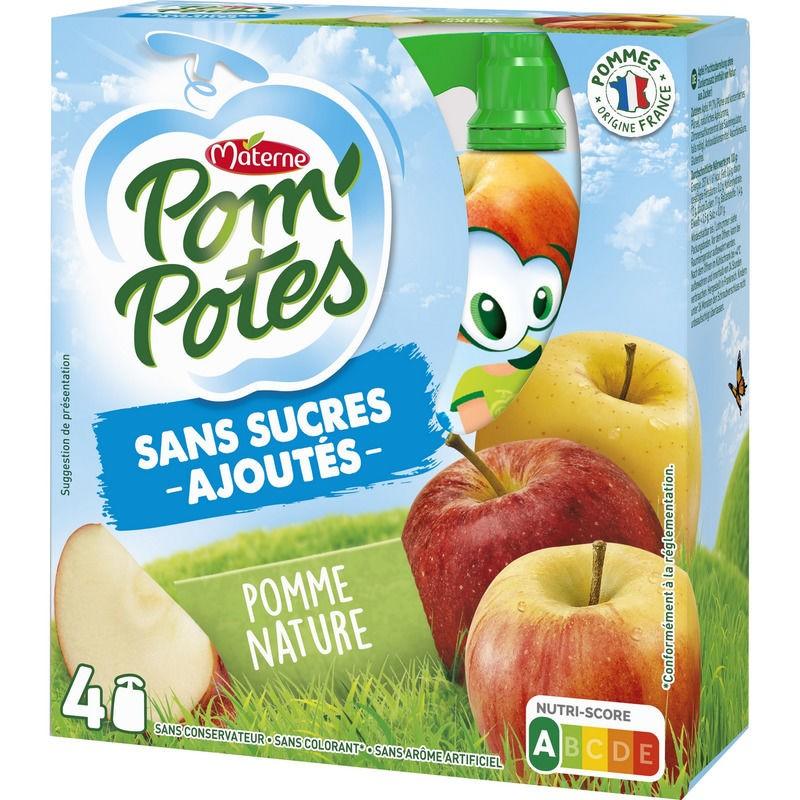 MATERNE Pom'Potes  - Compote pomme nature sans sucre ajouté 4x90g