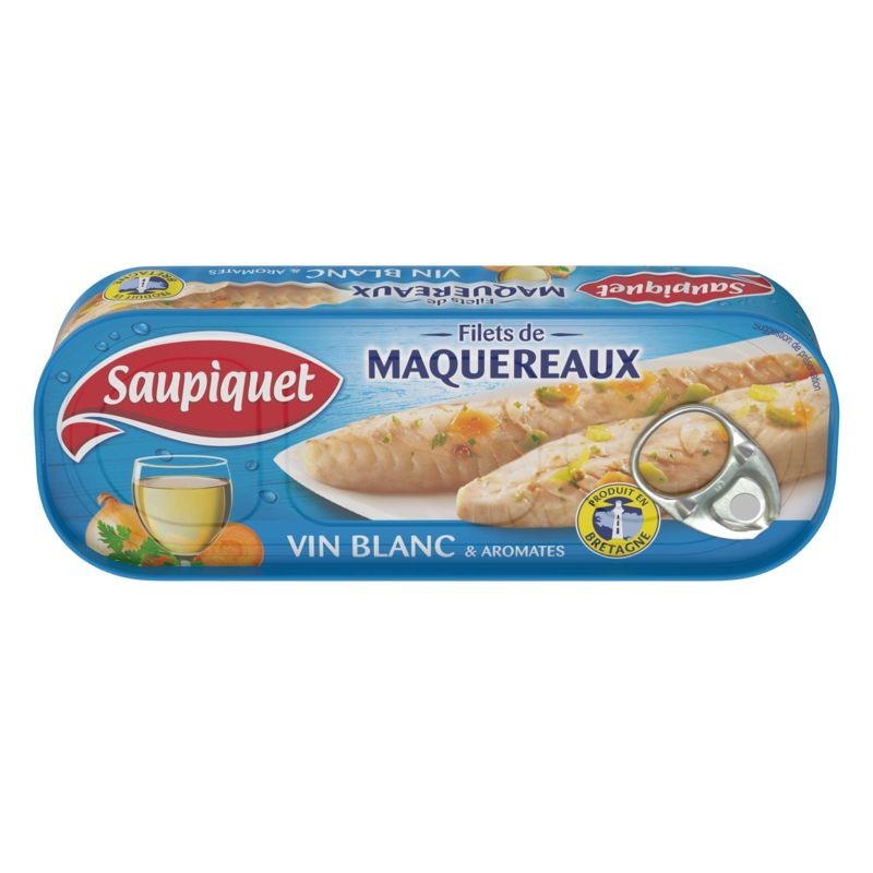 SAUPIQUET Filets de maquereaux vin blanc aromates 176g