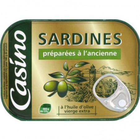CASINO Sardines préparées à l'ancienne l'huile d'olive vierge extra 135g