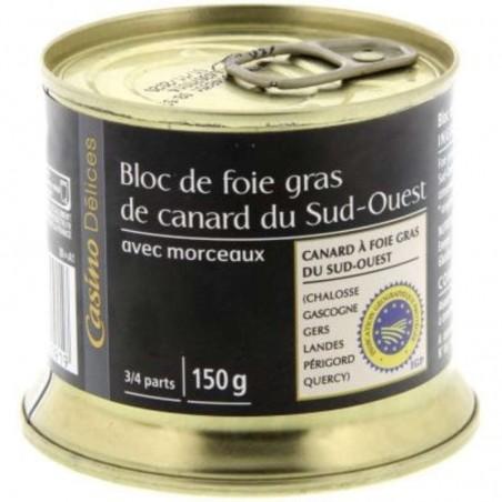 CASINO DÉLICES bloc de foie gras de canard du Sud-Ouest avec 30 % morceaux 150g