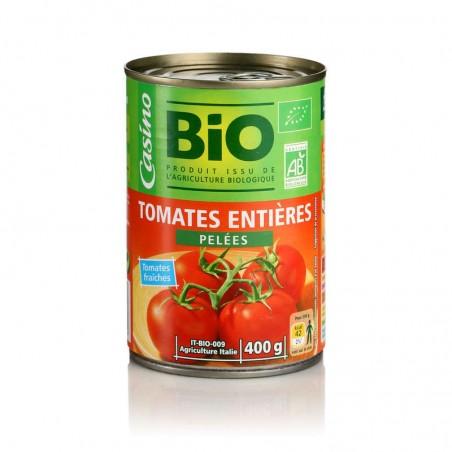 CASINO BIO Tomates entières pelées au jus Bio 400g