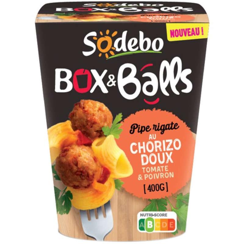 SODEBO Box pipe rigate tomates poivrons chorizo 400g