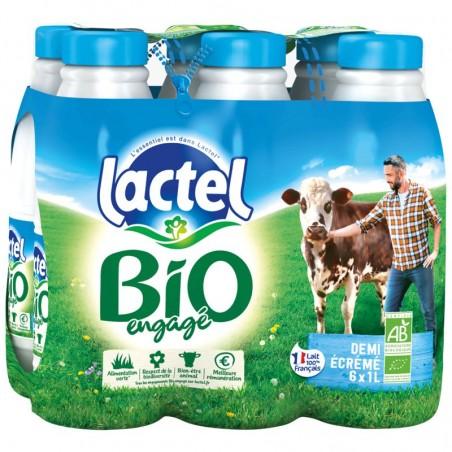 LACTEL Lait Demi-écrémé Bio 6x1L