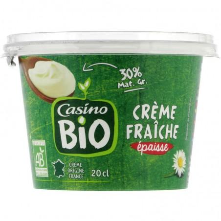 CASINO BIO Crème fraîche épaisse - Produit de l'agriculture biologique 20cl