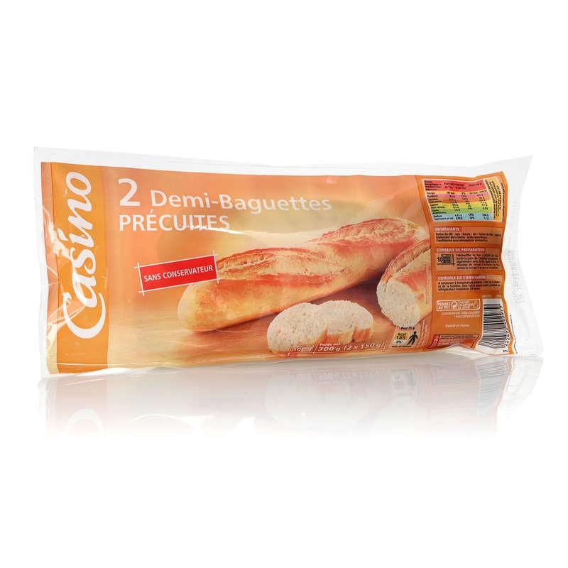 CASINO 2 Demi-Baguettes précuites 300g