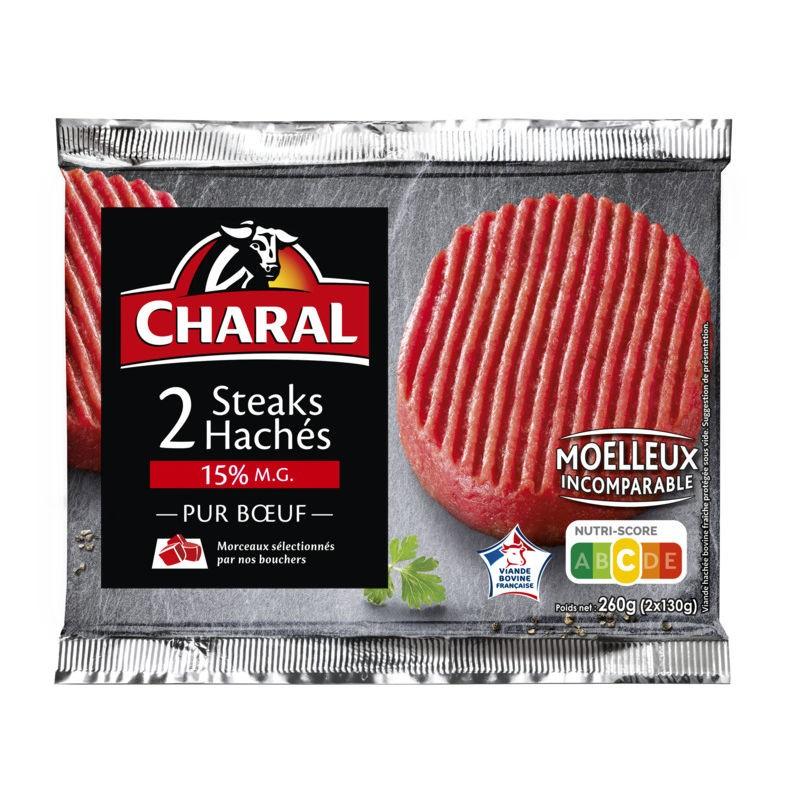 CHARAL Steaks hachés 15%MG 2x130g