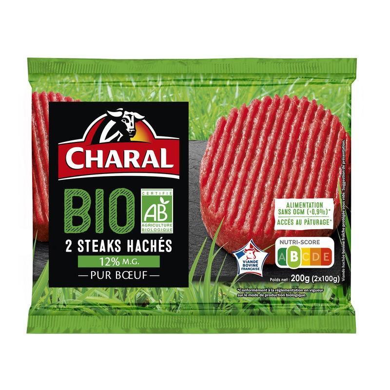 CHARAL Steak haché Bio 15% Mg 2x100g