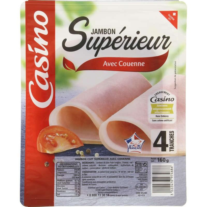 CASINO Jambon supérieur avec couenne - 4 tranches 160g